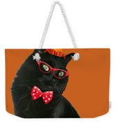 Halloween Card - Black Cat Ready To Party Weekender Tote Bag