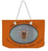 Halloween Greeting Card - Marbled Orb Weaver Spider Weekender Tote Bag