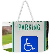 Handicapped Parking Sign Weekender Tote Bag by Photo Researchers