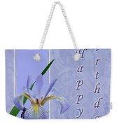 Happy Birthday Greeting Card - Blue Flag Iris Wildflower Weekender Tote Bag
