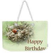 Happy Birthday Greeting Card - Ladybug On Dried Queen Anne's Lace Weekender Tote Bag