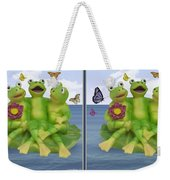Happy Frogs - Gently Cross Your Eyes And Focus On The Middle Image Weekender Tote Bag