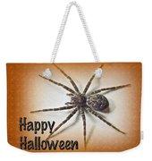 Happy Halloween Spider Greeting Card - Dolomedes Tenebrosus Weekender Tote Bag