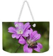 Hardy Geranium And Honey Bee Weekender Tote Bag