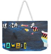 Hawaii License Plate Map Weekender Tote Bag by Design Turnpike
