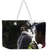 Hawk With Eyes Covered At A Show Inside The Jurong Bird Park In  Weekender Tote Bag