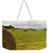 Haybales In Field On Stormy Day Weekender Tote Bag
