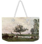 Haycart Beside A River  Weekender Tote Bag
