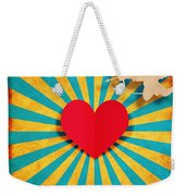 Heart And Cupid On Paper Texture Weekender Tote Bag