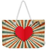 Heart And Cupid With Ray Background Weekender Tote Bag