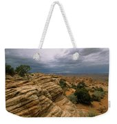 Heavy Clouds Over A Rocky Desert Weekender Tote Bag