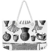 Heinrich Schliemann (1822-1890). German Traveller And Archeologist. Some Of The Antiquities Excavated By Schliemann At Hissarlick, Turkey, Site Of Ancient Troy. Wood Engraving, English, 1877 Weekender Tote Bag by Granger