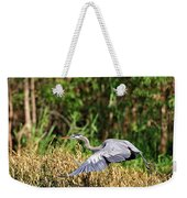 Heron Flying Along The River Bank Weekender Tote Bag