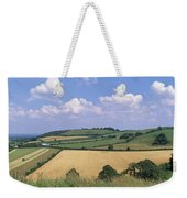 High Angle View Of Patchwork Fields Weekender Tote Bag