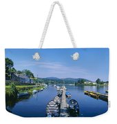 High Angle View Of Rowboats In The Weekender Tote Bag