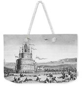 Hindu Sacrifice, 1837. /ndevotees In India Sacrifice Themselves To The Idol Juggernaut. Line Engraving, 1837 Weekender Tote Bag