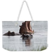 Hippo In Water Exhibits Aggresive Weekender Tote Bag