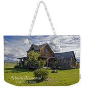 Historic 1870 Marvin Wood House With Text Weekender Tote Bag