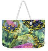 Hiv Three Sectioned Virions On Blue Weekender Tote Bag