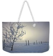 Hoar Frost Covering Trees And Barbed Weekender Tote Bag