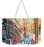 Hockey Game Near Winding Staircases Weekender Tote Bag