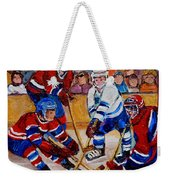 Hockey Game Scoring The Goal Weekender Tote Bag by Carole Spandau
