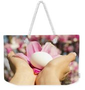 Holding Careful A White Egg Weekender Tote Bag