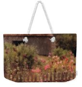 Hollyhocks And Thatched Roof Barn Weekender Tote Bag