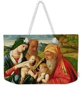 Holy Family With St. Simeon And John The Baptist Weekender Tote Bag by Francesco Rizzi da Santacroce