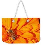 Honeybee On An Orange Zinnia Weekender Tote Bag