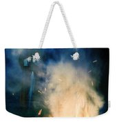 Hooded Figure In A Mask By A Fire Weekender Tote Bag