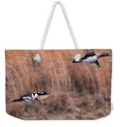 Hooded Merganser Gaining Altitude Weekender Tote Bag