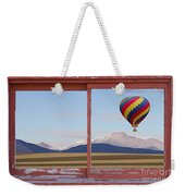 Hot Air Balloon And Longs Peak Red Rustic Picture Window View Weekender Tote Bag