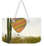 Hot Air Balloon Over The Arizona Desert With Giant Saguaro Cactu Weekender Tote Bag