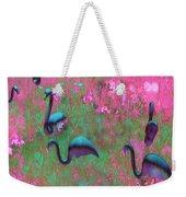 Hot Pink Flamingos Garden Abstract Art  Weekender Tote Bag
