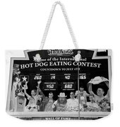 Hotdog Eating Contest Time In Black And White Weekender Tote Bag