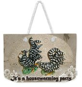 Housewarming Invitation - Black And White Chickens Figurines Weekender Tote Bag