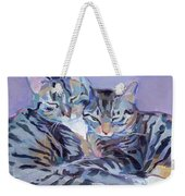 Hugs Purrs And Stripes Weekender Tote Bag by Kimberly Santini