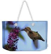 Hummingbird With Blue Border - Digital Painting Weekender Tote Bag