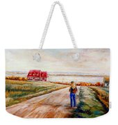 Ile D'orleans Road To The Red Gabled House Quebec Maritime Landscape Weekender Tote Bag