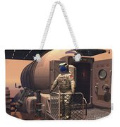 Illustration Of An Astronaut Leaving Weekender Tote Bag by Walter Myers