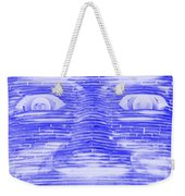In Your Face In Negative Blue Weekender Tote Bag