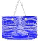 In Your Face In Negative Light Blue Weekender Tote Bag