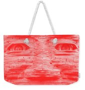 In Your Face In Negative Light Red Weekender Tote Bag
