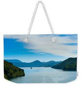 Incoming Ferry Through A Fjord  Weekender Tote Bag
