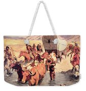 Indians Attacking A Pioneer Wagon Train Weekender Tote Bag