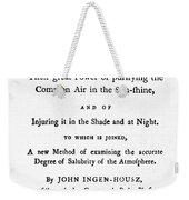 Ingenhousz Title-page, 1779 Weekender Tote Bag