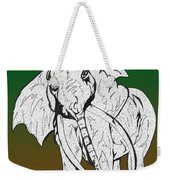 Inked Elephant In Green And Brown Weekender Tote Bag