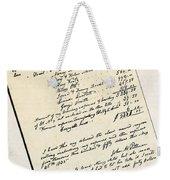 Invoice Of A Sale Of Black Slaves Weekender Tote Bag