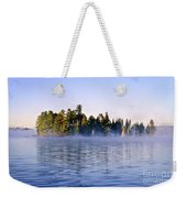 Island In Lake With Morning Fog Weekender Tote Bag
